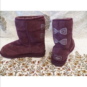 New Women UGG Classic Short Crystal Bow Wine Boots